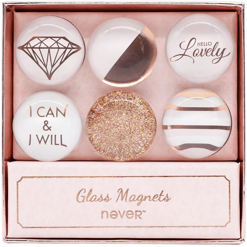 never文具玫瑰金玻璃磁扣时尚冰箱贴磁性贴透明彩色磁扣磁粒包邮