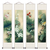 Branches accompanied by four screen silk painting scroll painting Xiaoming hanging paintings strokes famous paintings spring, summer, autumn and winter new products