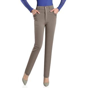 新款休闲裤女高腰深裆弹力直筒裤秋冬款加绒中老年女裤妈妈长裤子