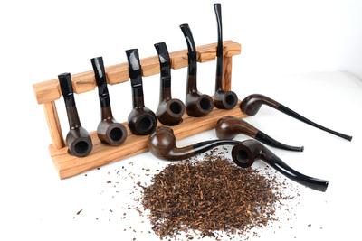 黑檀木乌木红木烟斗手工烟斗石楠木老式烟丝斗弯式实木直式无漆斗