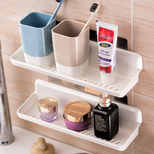 Bathroom perforation-free shelf toilet drainage traceless plastics shelf wall hanging cosmetics collection box rack