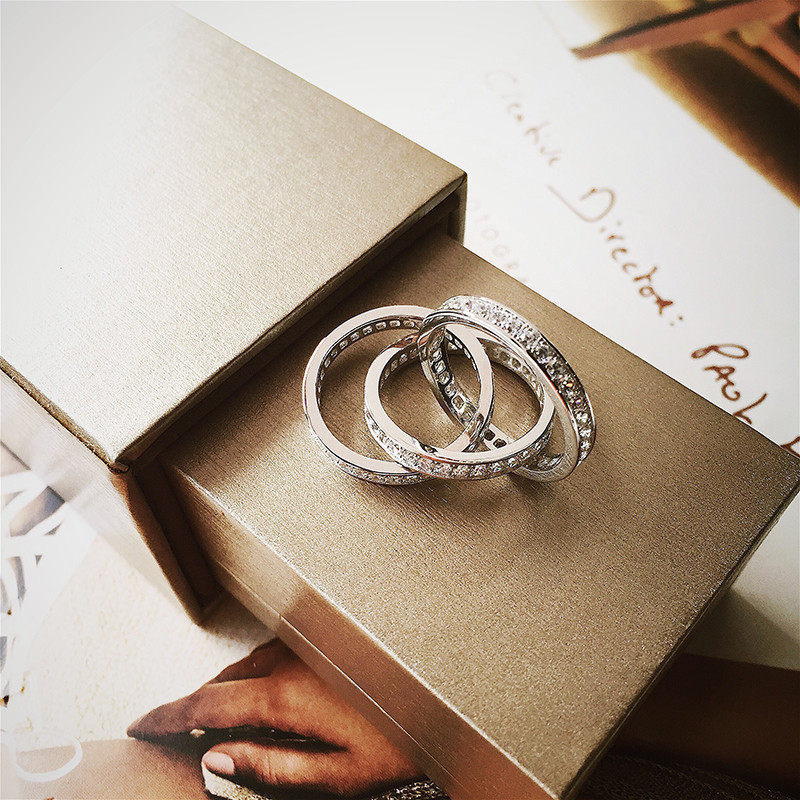 时尚韩版网红罗子君同款三环纯银戒指女个性叹息桥小众设计食指戒图片