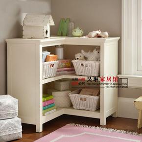 美式实木书柜儿童转角书柜田园书柜地中海转角边柜储物柜墙角柜