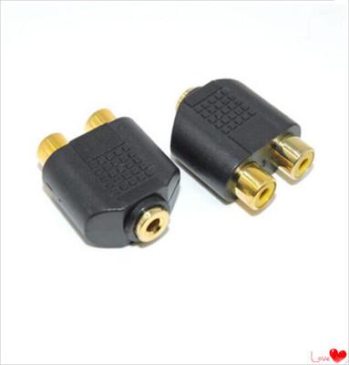 PS3/xbox360游戏机音频接音箱/耳机专用 双莲花转3.5mm母 转接头