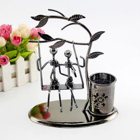 创意时尚多功能沙漏铁艺笔筒办公书桌面装饰品摆件男女生儿童礼物