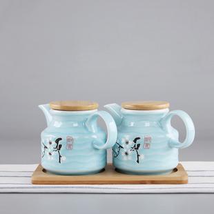 包邮日式蓝釉防漏陶瓷油壶大号家用酱油罐瓶调料瓶醋壶厨房用品