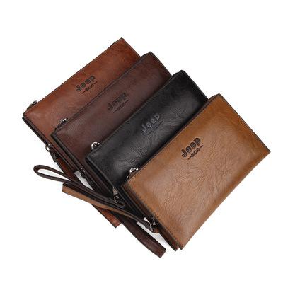 jeep男包欧美男士手拿包夹包高档皮革手包大容量手机钱包