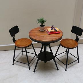实木铁艺休闲餐桌椅组合酒吧阳台小桌椅创意咖啡厅小圆桌三件套装