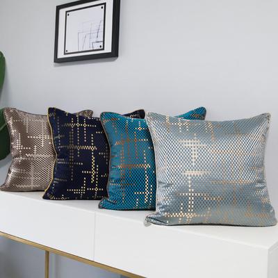 现代简约样板间靠包轻奢美式沙发靠垫靠枕浅蓝色亮蓝咖色亮面抱枕最新最全资讯