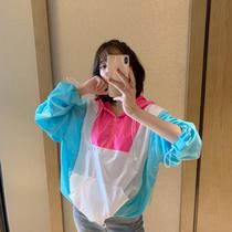 张静芝韩国东大门 夏款流行糖果粉蓝撞色连帽轻薄防晒套头上衣
