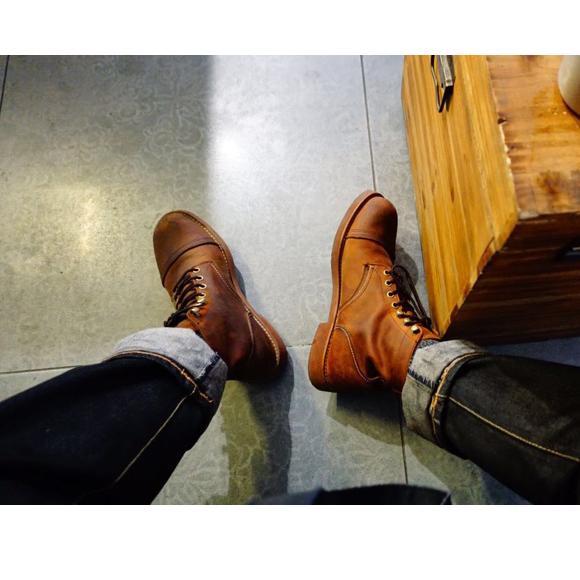 复古真皮伞兵靴男鞋8115马丁靴男鞋咔叽vingate8111靴工装靴男靴