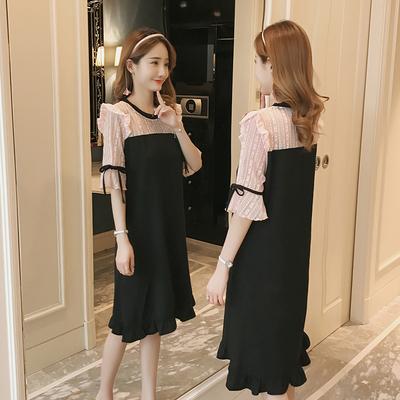 哺乳连衣裙2018夏季新款韩版时尚短袖雪纺拼接蕾丝辣妈款外出裙子