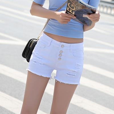 女款牛仔短裤低腰夏季宽松破洞韩版百搭性感黑色排扣流苏2018新款