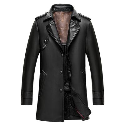 秋冬中年男士棉衣中长款时尚修身薄棉服外套休闲皮革男装夹棉风衣