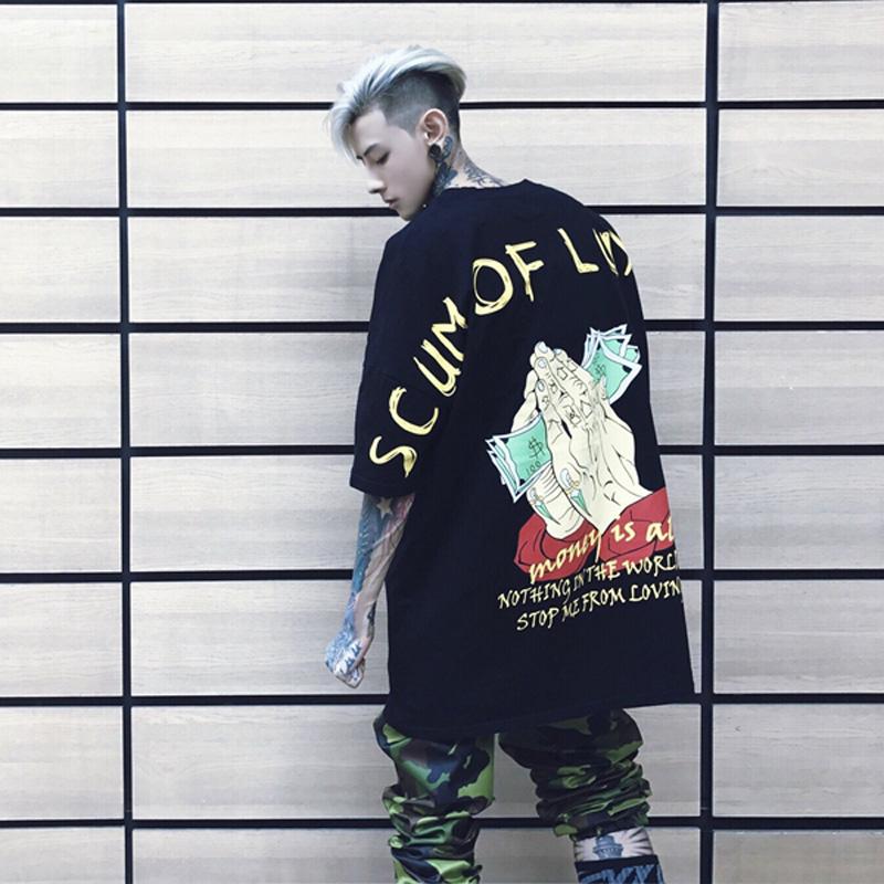 潮流7 韩版 衣服权志龙同款 原宿风bf宽松七分袖 五分蝙蝠衫 t恤男短袖