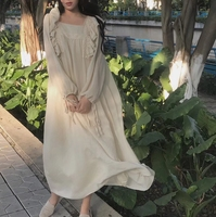 棉麻连衣长裙白长袖