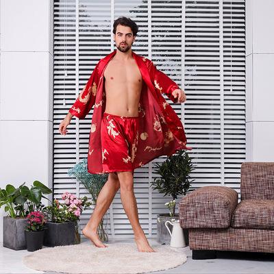 加大码6XL7XL浴袍男士丝绸睡袍短裤两件套装 夏季薄款长袖男式