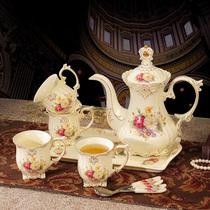 欧式茶具套装带托盘陶瓷英式下午茶咖啡杯套装茶壶整套结婚礼物