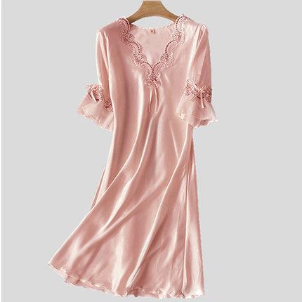 睡衣女夏薄款性感冰丝大码纺真丝宽松韩版蕾丝绸缎短袖睡裙家居服