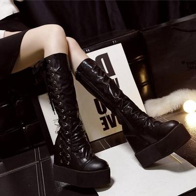 2018秋冬欧美新款高跟厚底松糕女靴内增高坡跟绑带骑士靴过膝长靴