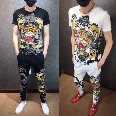 夏季新款欧美潮牌休闲套装潮流时尚短袖卫裤烫钻老虎头男士两件套