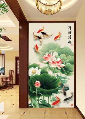 荷花鱼墙纸壁画