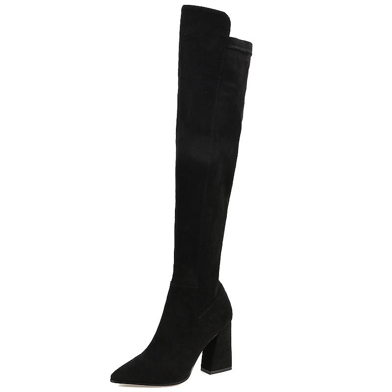 2018新款秋冬季长靴女过膝弹力靴高跟长筒靴尖头粗跟瘦瘦高筒棉靴