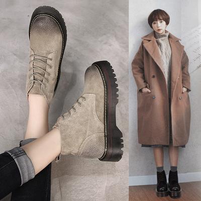 春秋内增高牛筋真皮厚底马丁靴女靴子复古系带短靴单靴英伦风裸靴