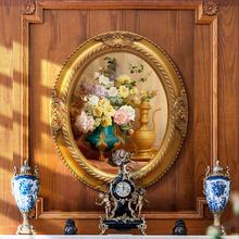 欧式古典花卉风景定制油画椭圆形壁画餐厅卧室玄关装饰画手绘挂画