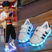 Children's Luminescent Shoes Ub Charging Seven-color Bright Lights Boys and Girls'Shoes Flash Belt Lights Sports Shoes Baby Waterproof Shoes