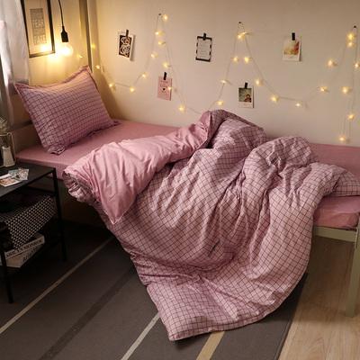 网红ins风床上用品四件套女chic磨毛床单被套学生宿舍三件套4单人