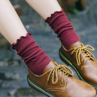 堆堆袜女纯棉原宿中筒秋冬短靴长袜子批发女韩国学院风复古韩版