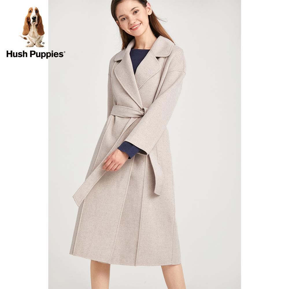 Hush Puppies暇步士羊毛双面呢大衣2018冬新长款女装|HY-18533D