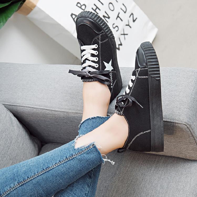 2018帆布鞋女学生韩版原宿ulzzang平底板鞋女休闲小白鞋百搭女鞋