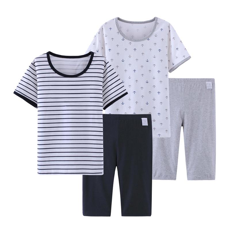 上新男童家居空调服套装彩条短袖短裤船锚儿童睡衣