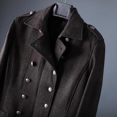 100%羊毛呢子大衣英伦风复古男士双排扣加厚外套修身短款潮男秋冬