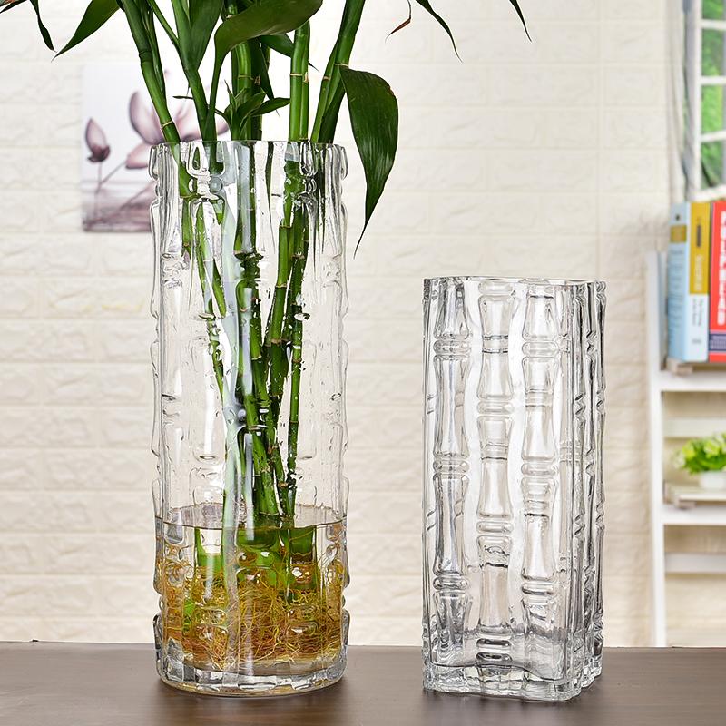 現代簡約富貴竹花瓶擺件轉運客廳玻璃插花透明特大號水培家用落地