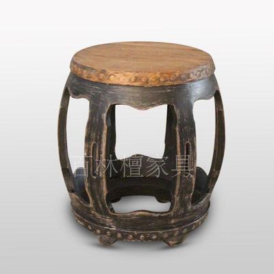 老榆木鼓凳圆凳 客厅仿古做旧绣墩实木 古筝凳矮凳彩漆手工木家具年货节折扣