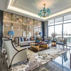 新中式实木沙发组合后现代客厅布艺样板房售楼处高端金属家具定制