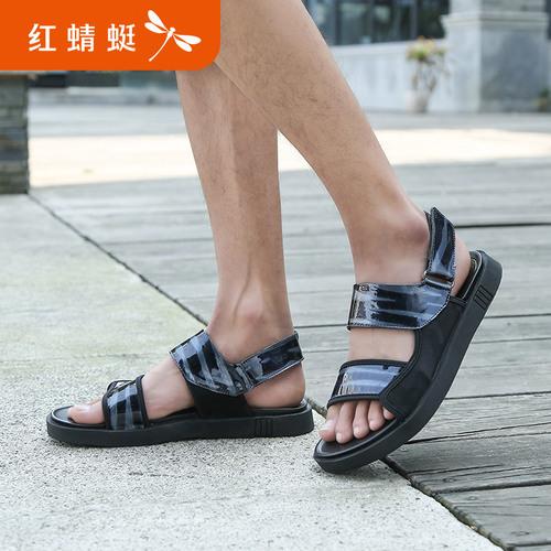 红蜻蜓真皮凉鞋男士鞋2018新款正品沙滩鞋潮流韩版魔术贴皮凉鞋