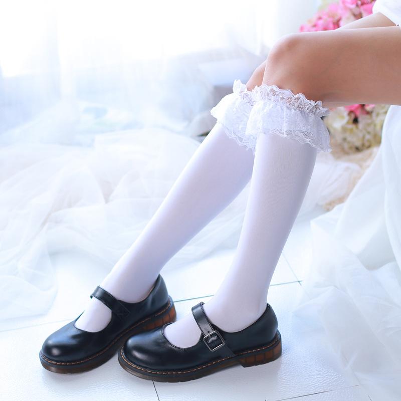 色中色制服丝袜_日系洛丽塔黑白色天鹅绒jk高筒丝袜学生制服大腿袜蕾丝花边cos袜