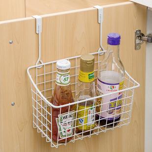可挂式铁艺收纳篮厨房橱柜门背挂篮调料瓶收纳架卫生间柜子置物架
