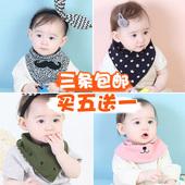 婴儿围嘴按扣儿童加厚围巾 双层春秋冬款 纯棉三角巾宝宝口水巾韩版图片