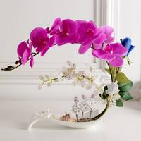 Feel Simulation Phalaenopsis Set Fake Flower Pot Decoration Flower Chinese Table Home Living Room Rose Decoration Floral