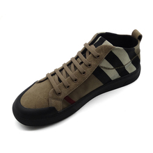 Genuine leather men's shoes Fall 2019 new high-top board shoes fashion Korean Plaid casual shoes lace anti-fur shoes