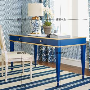 简欧实木电脑写字桌美式乡村蓝色金边地中海书桌现代简约新中式桌
