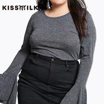 大码女装冷淡藏肉减龄T恤胖mm欧美时尚纯色休闲圆领喇叭袖T恤女