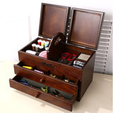 Sewing box home wood retro Japan portable wedding gift cross stitch treasure chest large storage box