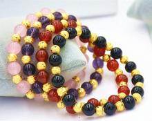 欧币饰品女士手链转运珠红玛瑙 紫水晶 黑曜石久不褪色仿黄金 包邮图片