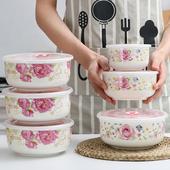 陶瓷保鲜碗三件套带盖保鲜盒泡面碗微波炉冰箱储存盒便当饭盒